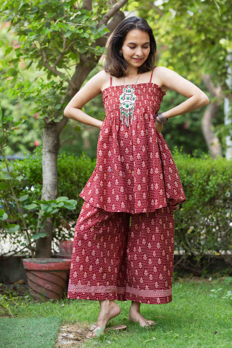 Kessa Kcb14 Tabeer Top And Palazzo Set With Hand Block Print Front 1