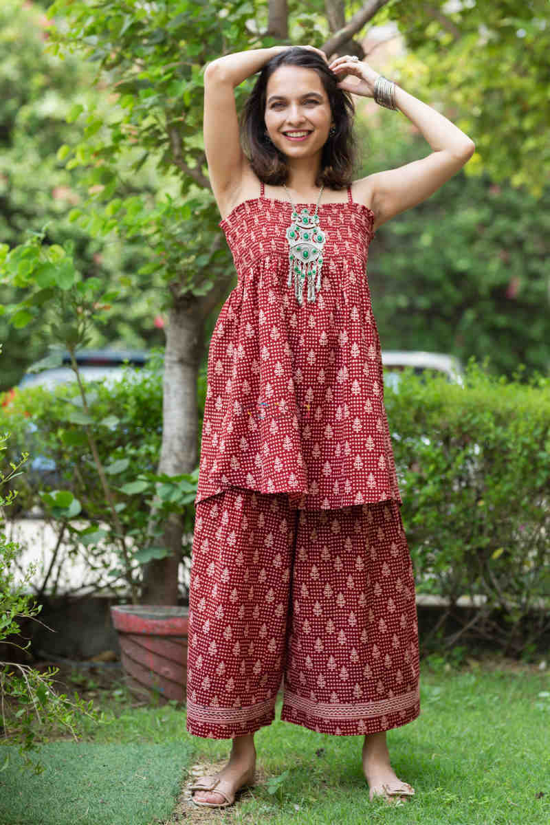 Kessa Kcb14 Tabeer Top And Palazzo Set With Hand Block Print Front