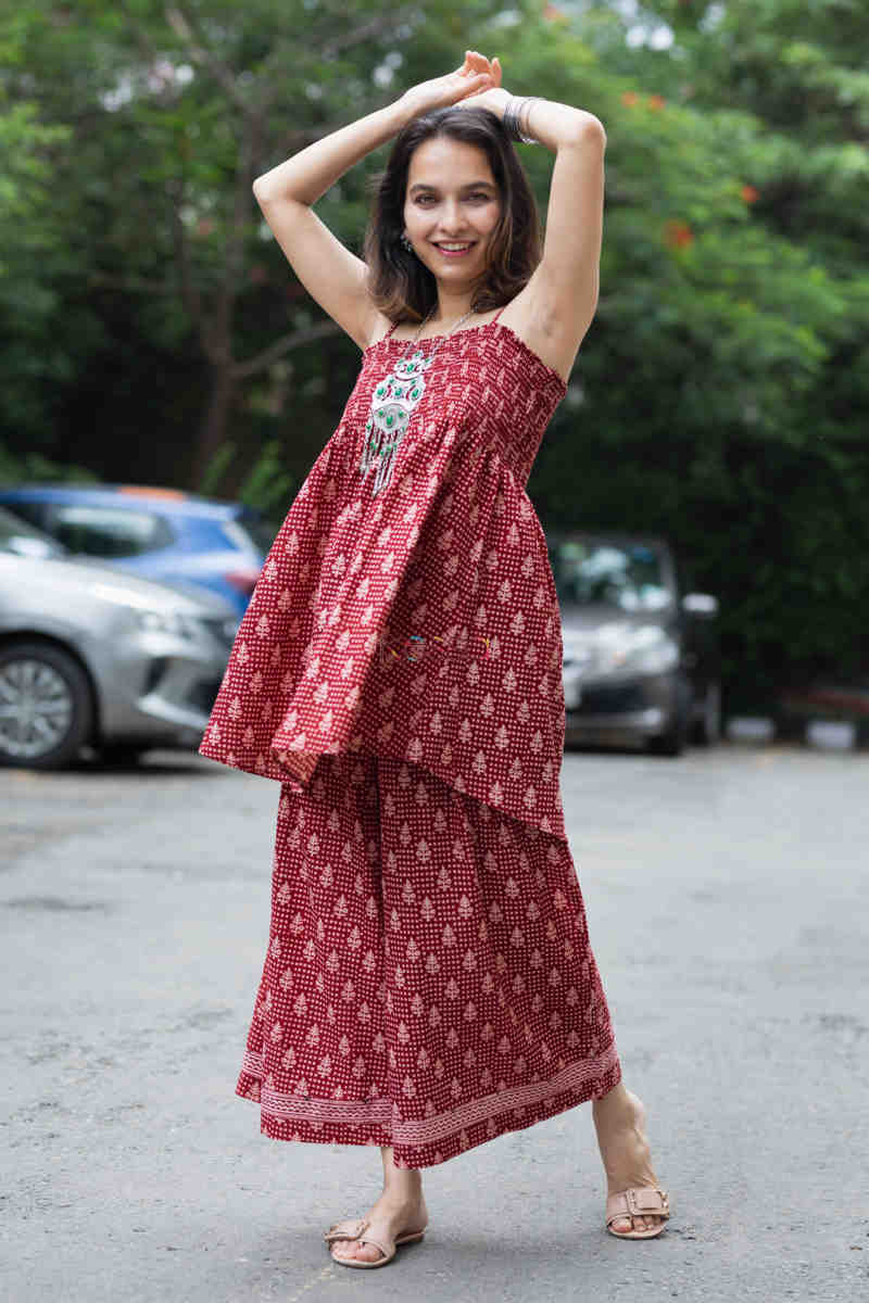 Kessa Kcb14 Tabeer Top And Palazzo Set With Hand Block Print Look 1