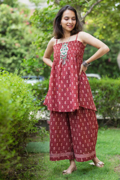 Kessa Kcb14 Tabeer Top And Palazzo Set With Hand Block Print Look