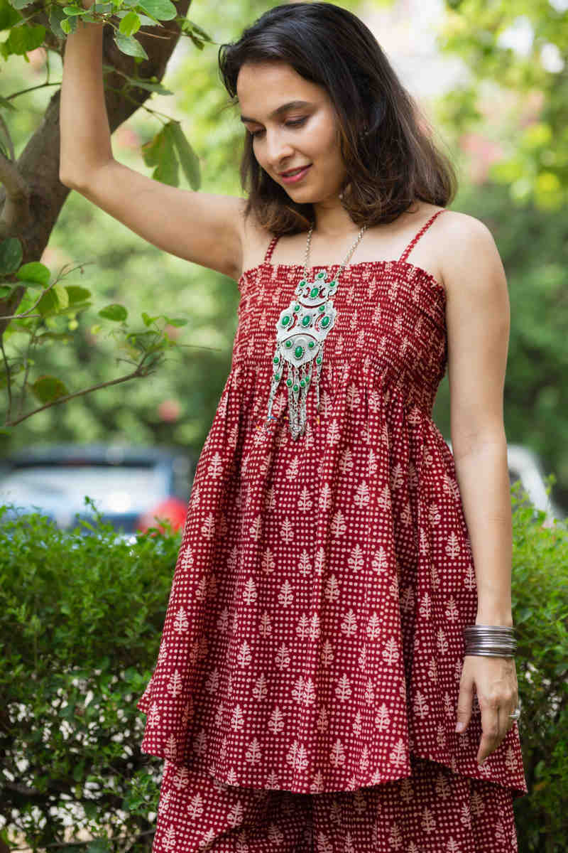 Kessa Kcb14 Tabeer Top And Palazzo Set With Hand Block Print Side