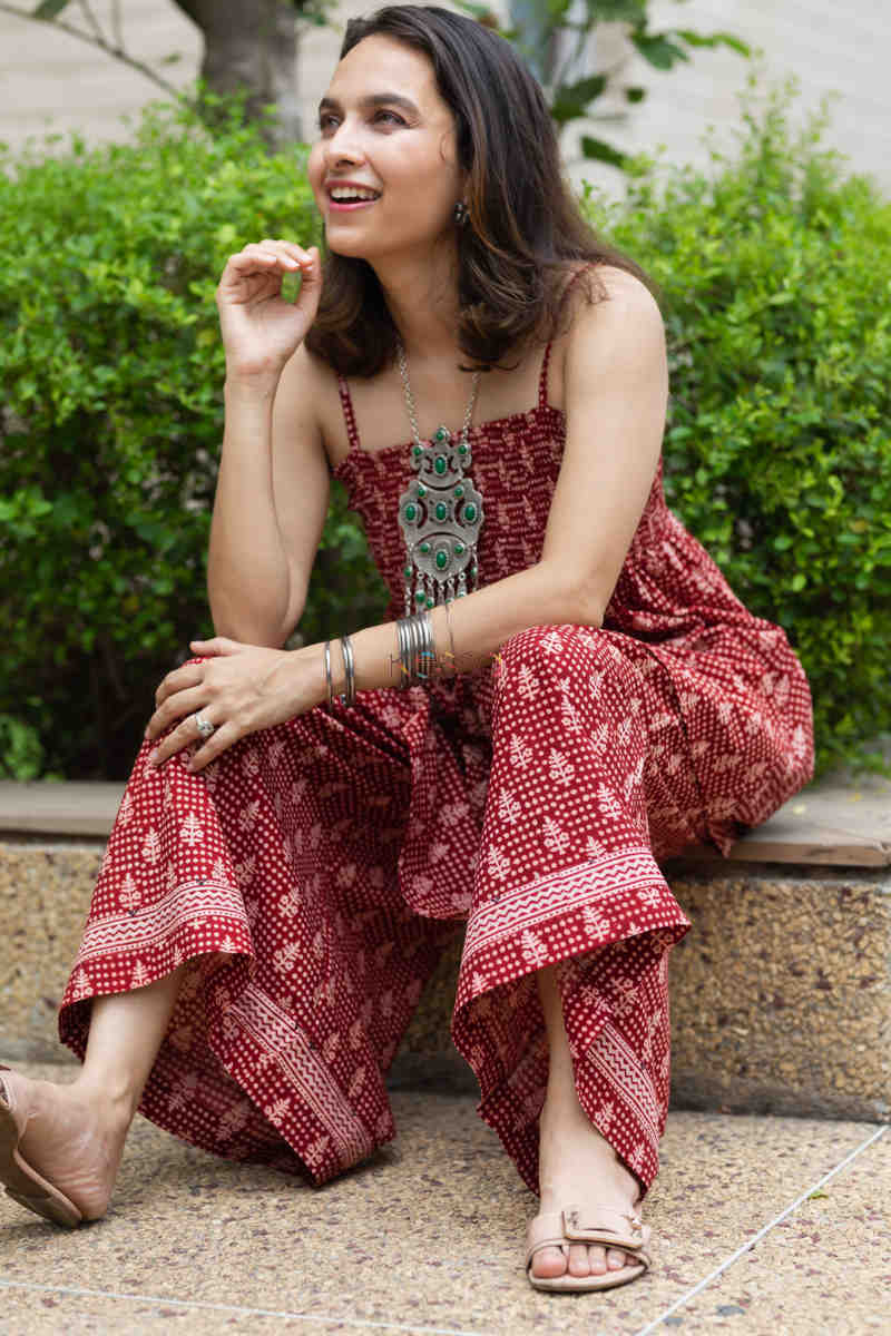 Kessa Kcb14 Tabeer Top And Palazzo Set With Hand Block Print Sitting