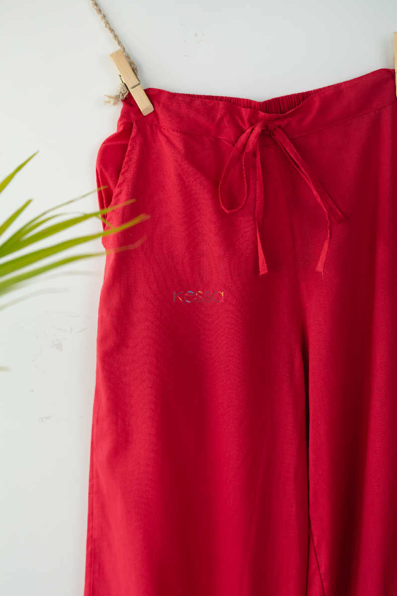 Wsp02 Palazzo With Pocket Elasticated Waist T Red Closeup
