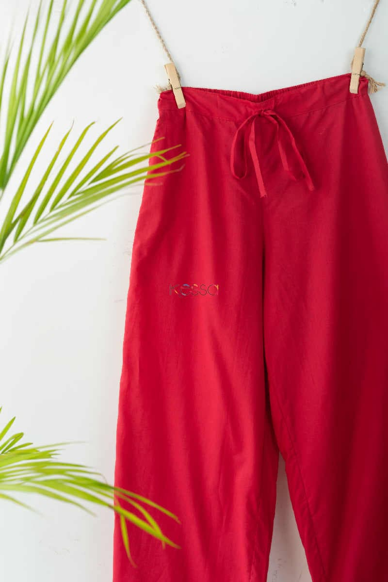 Wsp02 Palazzo With Pocket Elasticated Waist T Red Look