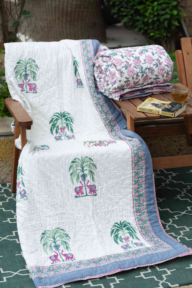 kessa kaq150 porcelain white and hippie blue single bed quilt featured