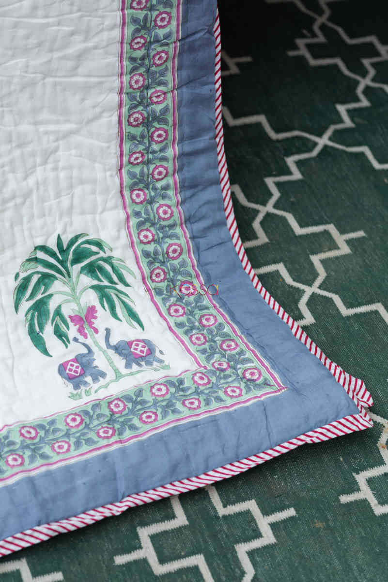 kessa kaq150 porcelain white and hippie blue single bed quilt front 1