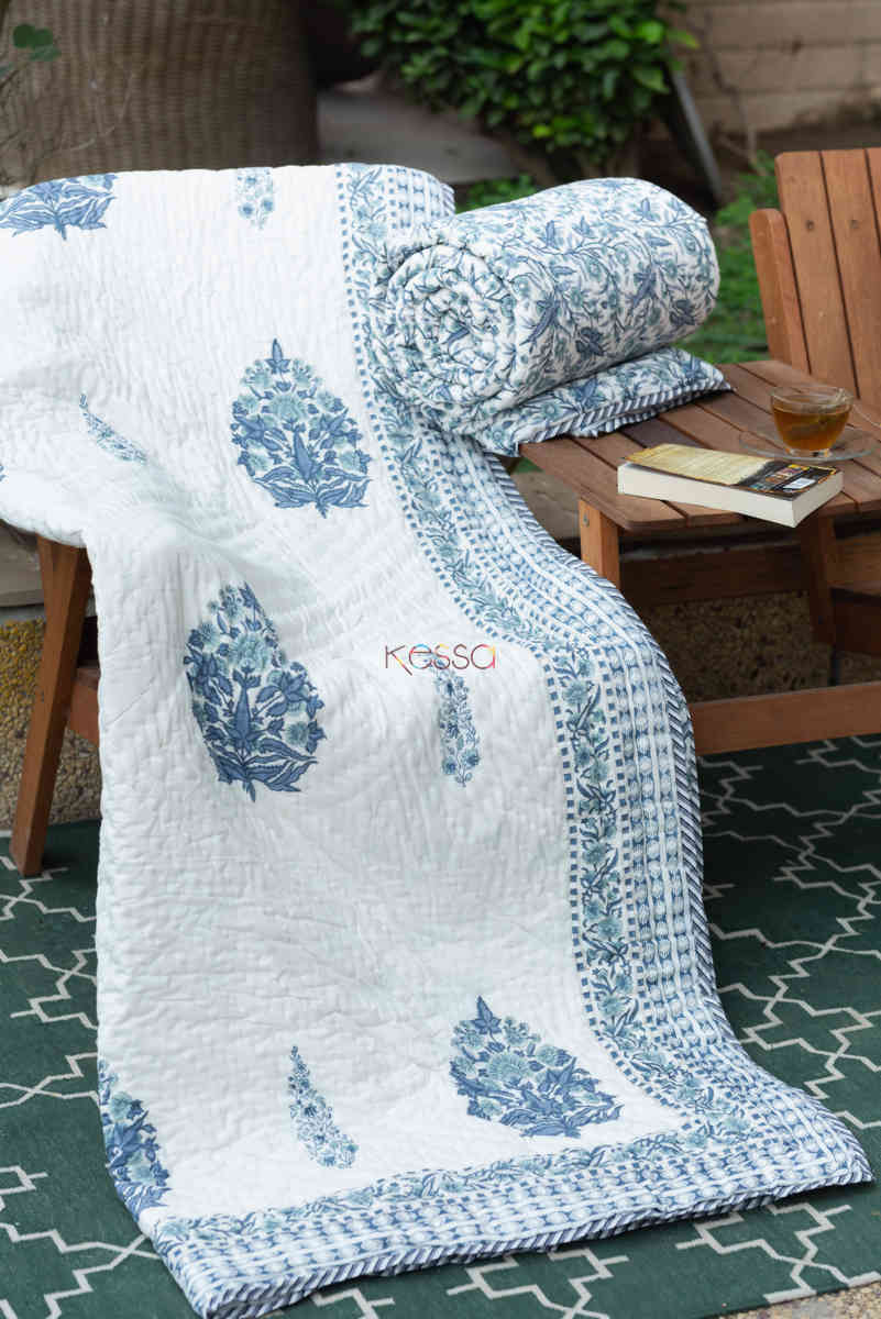 kessa kaq151 cadet blue and white single bed quilt featured
