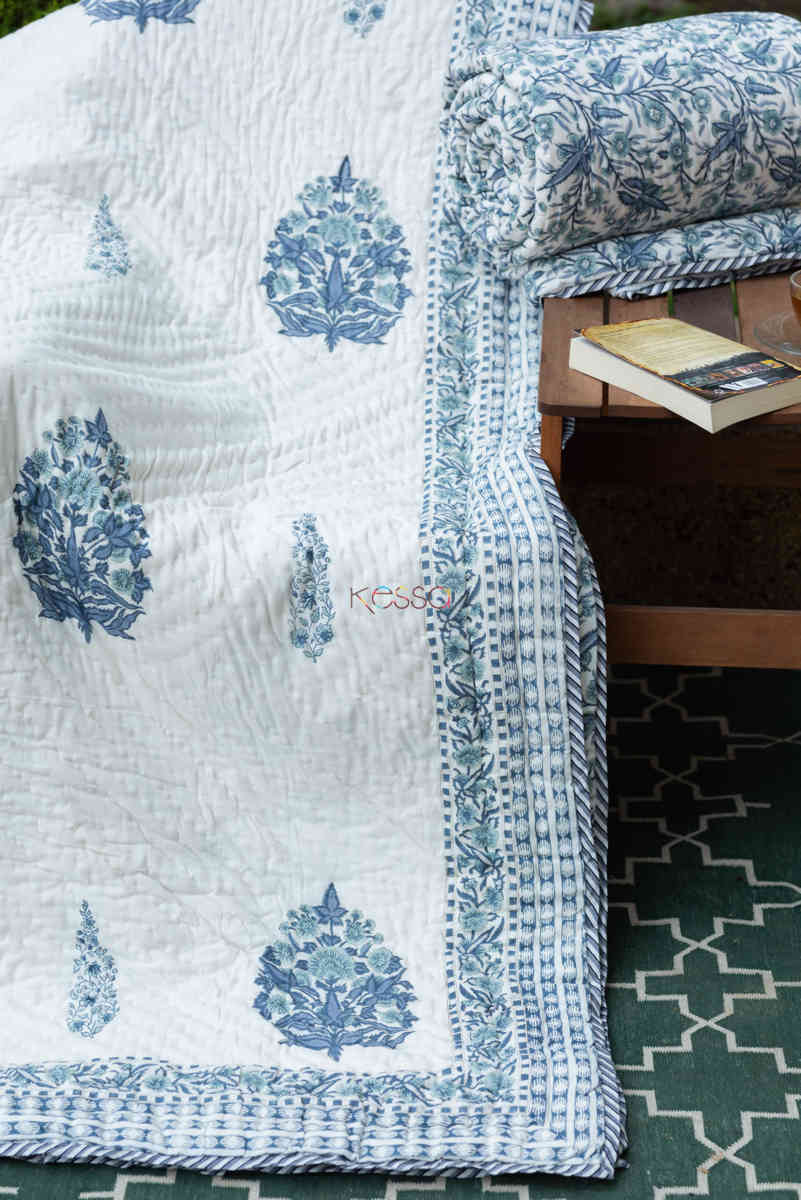 kessa kaq151 cadet blue and white single bed quilt front 1
