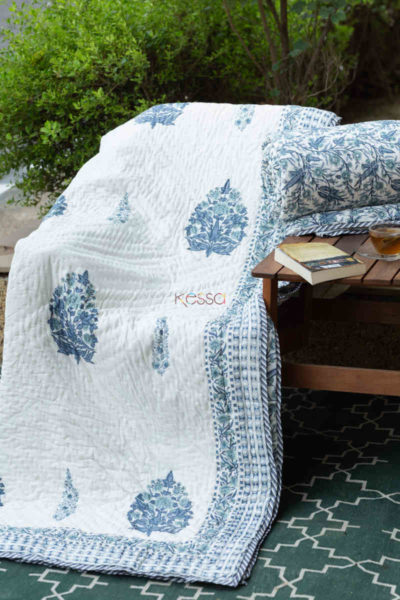 kessa kaq151 cadet blue and white single bed quilt front