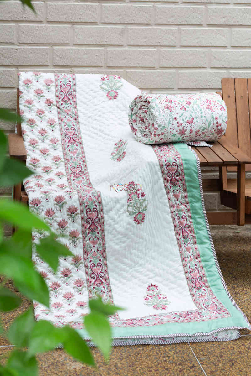 kessa kaq154 catskill white and morning glory green single bed quilt featured