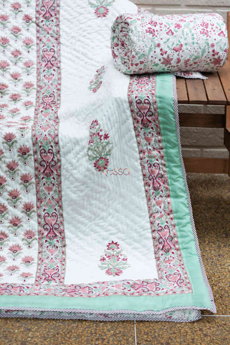 kessa kaq154 catskill white and morning glory green single bed quilt look