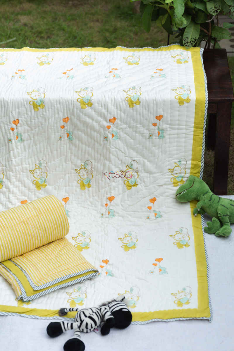 kessa kaq159 ronchi yellow baby quilt with hand block print featured