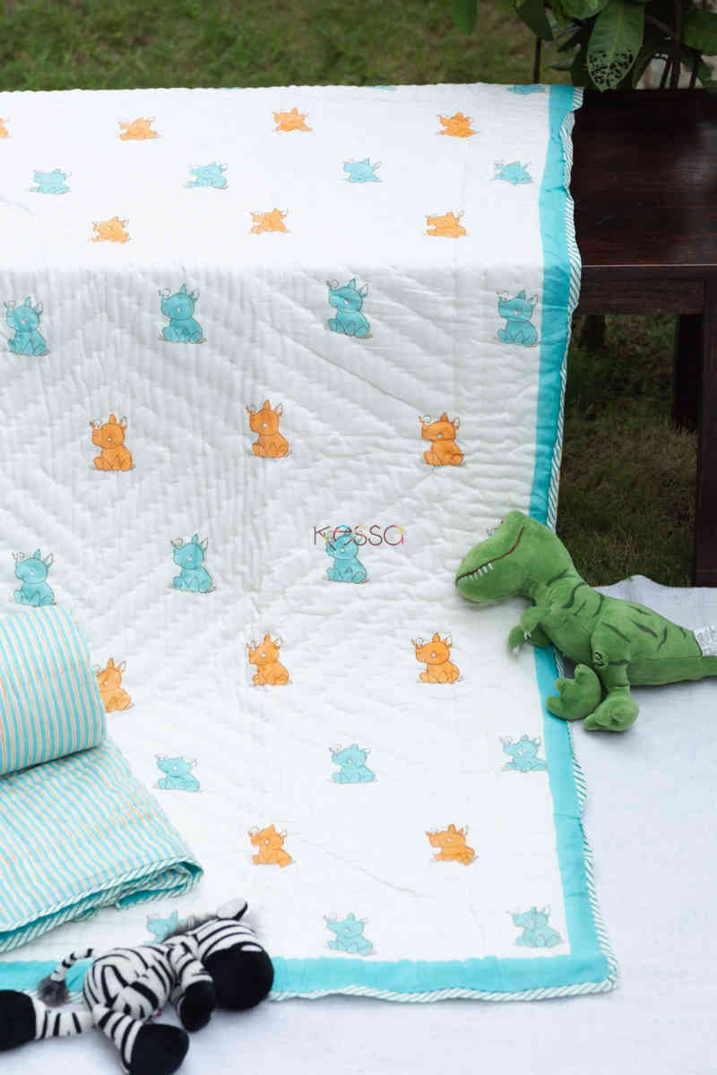 kessa kaq161 rocky rhino baby quilts with hand block print featured