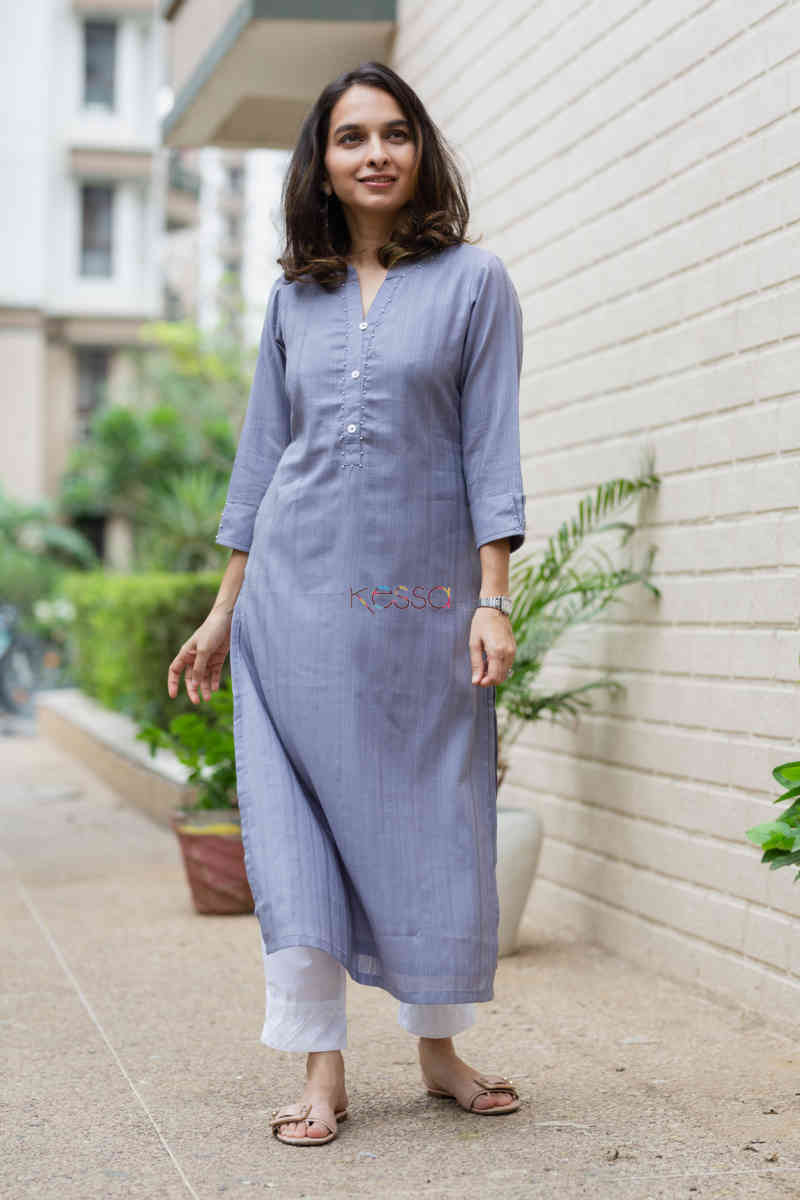 kessa ws713 nafees kurta with moti and shell button details featured