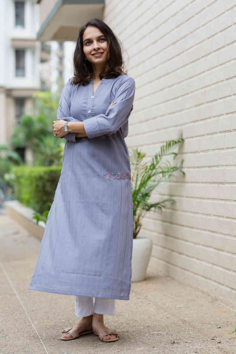 kessa ws713 nafees kurta with moti and shell button details look 1