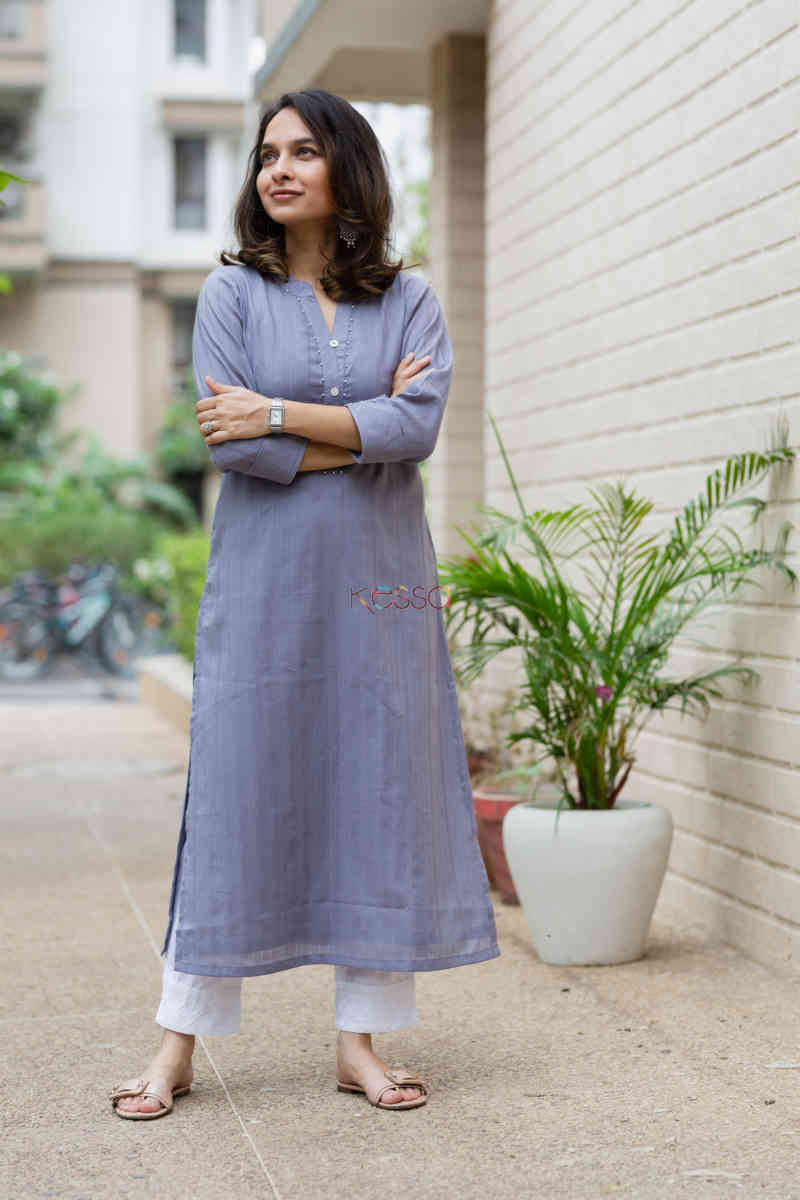 kessa ws713 nafees kurta with moti and shell button details look