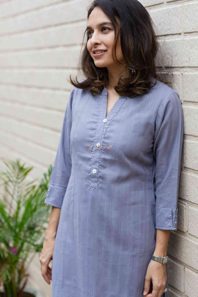 kessa ws713 nafees kurta with moti and shell button details neck
