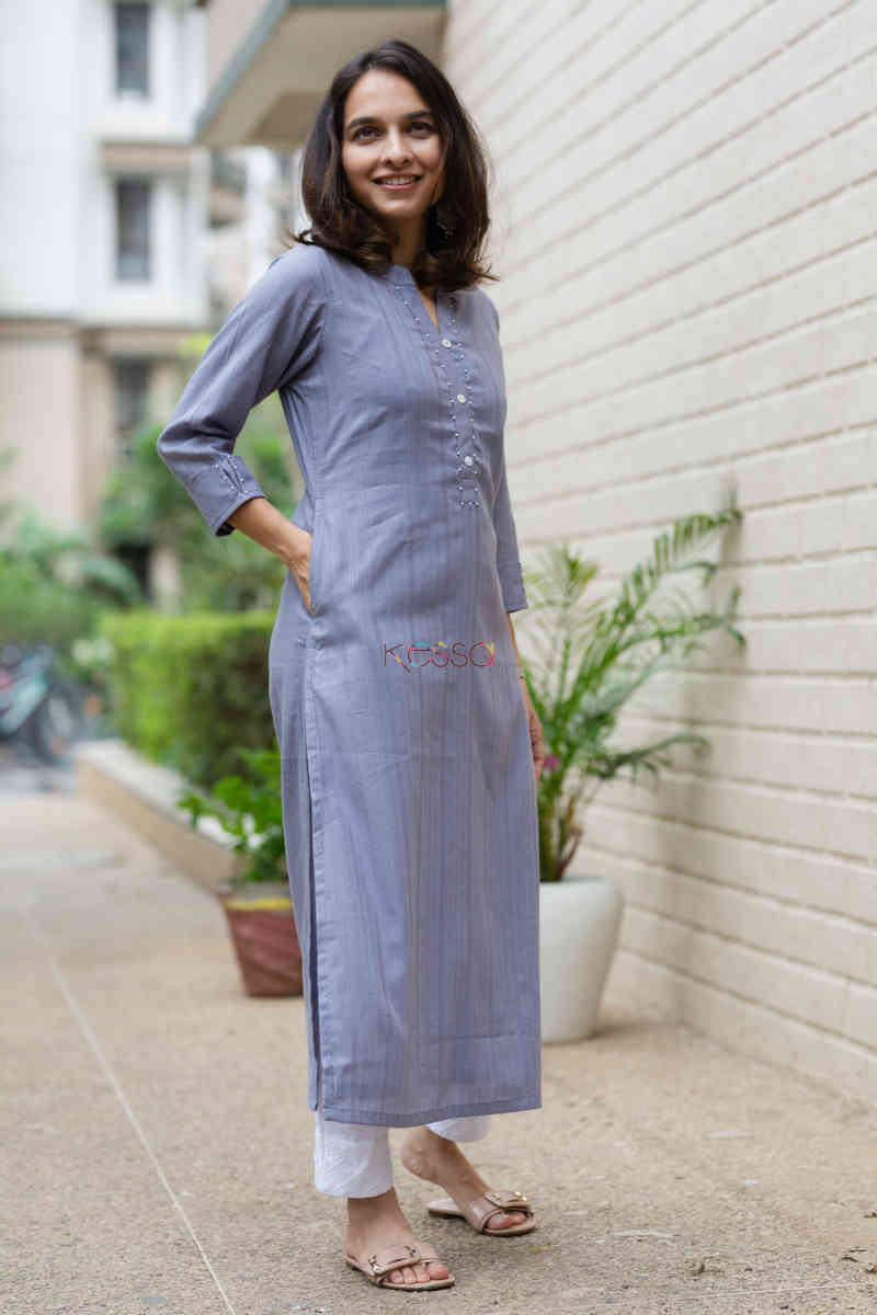 kessa ws713 nafees kurta with moti and shell button details side 1