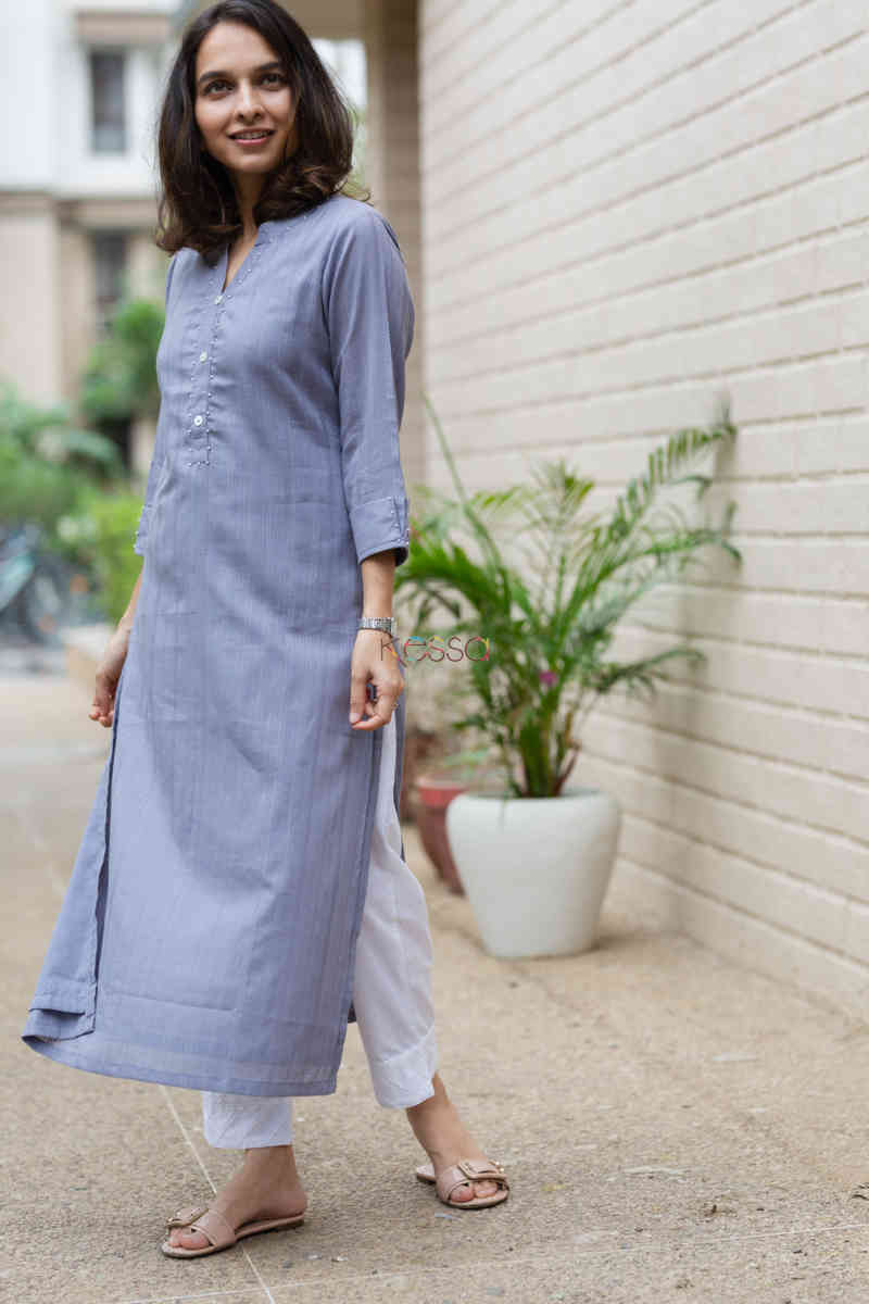 kessa ws713 nafees kurta with moti and shell button details side 2