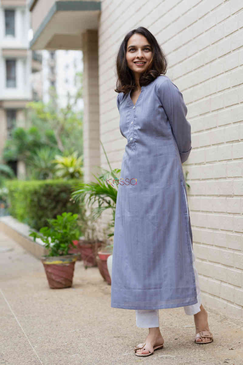kessa ws713 nafees kurta with moti and shell button details side